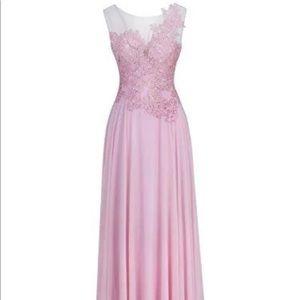 Women's sheer neckline wedding evening dress
